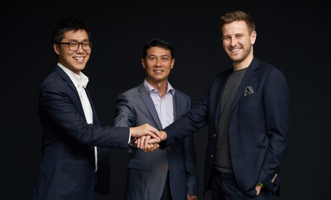 tryb Co-Founder Veiverne Yuen, Makara Capital's Kelvin Tan and tryb Co-Founder Markus Gnirck