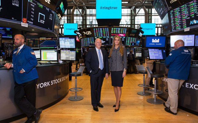 Jeff Sprecher, Intercontinental Exchange chairman and CEO, with his wife Kelly Loeffler, an ICE executive who will be CEO of the startup Bakkt, on the trading floor of the NYSE on July 9, 2018